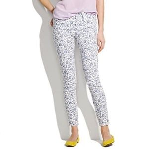 J. Crew Blue Floral Print Toothpick Ankle Jeans 28